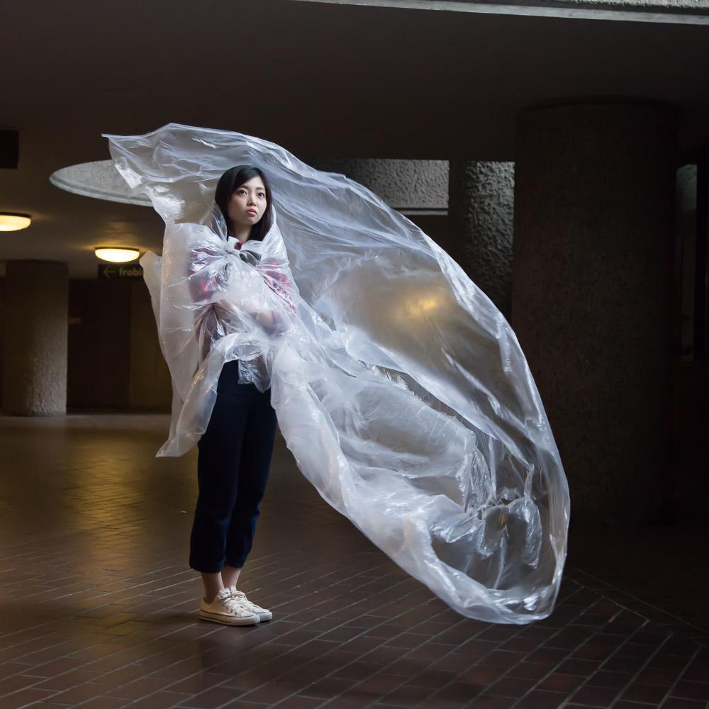 Barbican angel - Sachiyama Yamashita participating in Architectural Photography summer school at Central St Martins, London